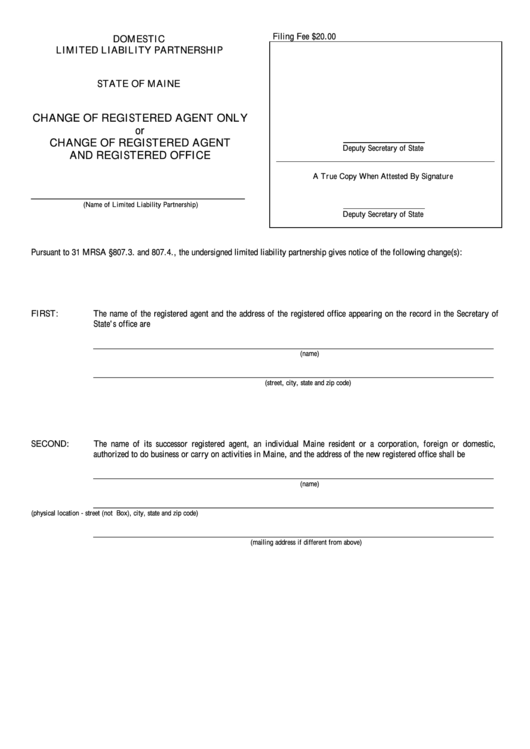 Fillable Form Mllp-3 - Change Of Registered Agent Only Or Change Of Registered Agent And Registered Office - Maine Secretary Of State Printable pdf