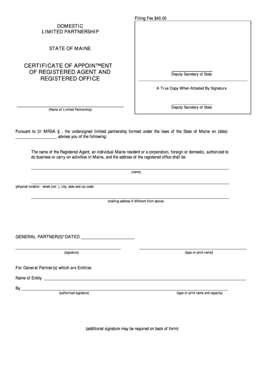 Fillable Form Mlpa-3c - Certificate Of Appointment Of Registered Agent And Registered Office - Maine Secretary Of State Printable pdf
