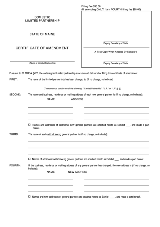 Fillable Form Mlpa-9 - Certificate Of Amendment - Maine Secretary Of State Printable pdf