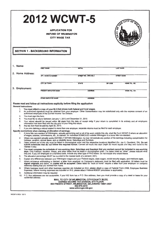 Form Wcwt-5 - Application For Refund Of Wage Tax - Wilmington City