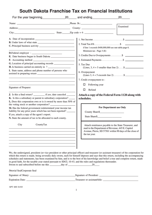 Form Spt 600 - South Dakota Franchise Tax On Financial Institutions - 2003 Printable pdf
