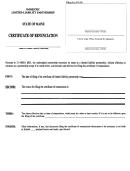 Form Mllp-iir - Certificate Of Renunciation For A Domestic Limited Liability Partnership - Maine Secretary Of State