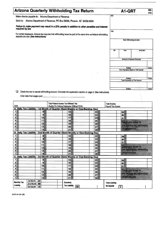Top Arizona Form A1-qrt Templates free to download in PDF format