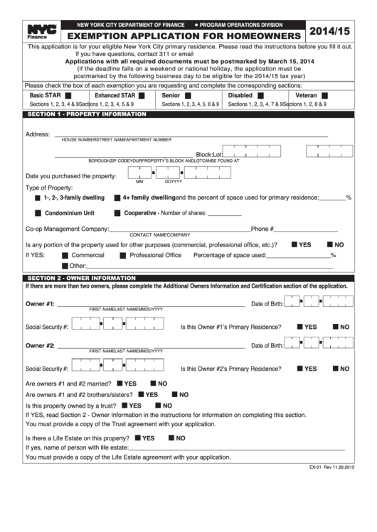 2014 15 Exemption Application For Homeowners New York City Department Of Finance Printable Pdf