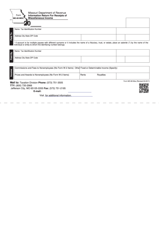 Fillable Form Mo-99 Misc - Information Return For Receipts Of Miscellaneous Income - State Of Missouri Printable pdf