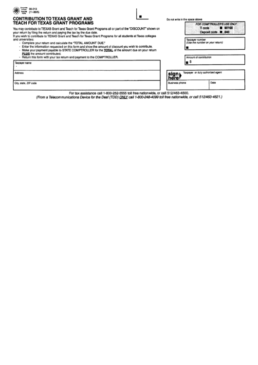 Form 00-213 - Contribution To Texas Grant And Teach For Texas Grant Program - State Of Texas Printable pdf