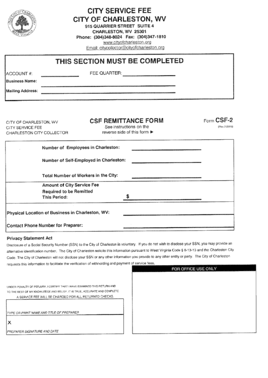 form csf 2 csf remittance form city of charleston printable pdf download. Black Bedroom Furniture Sets. Home Design Ideas