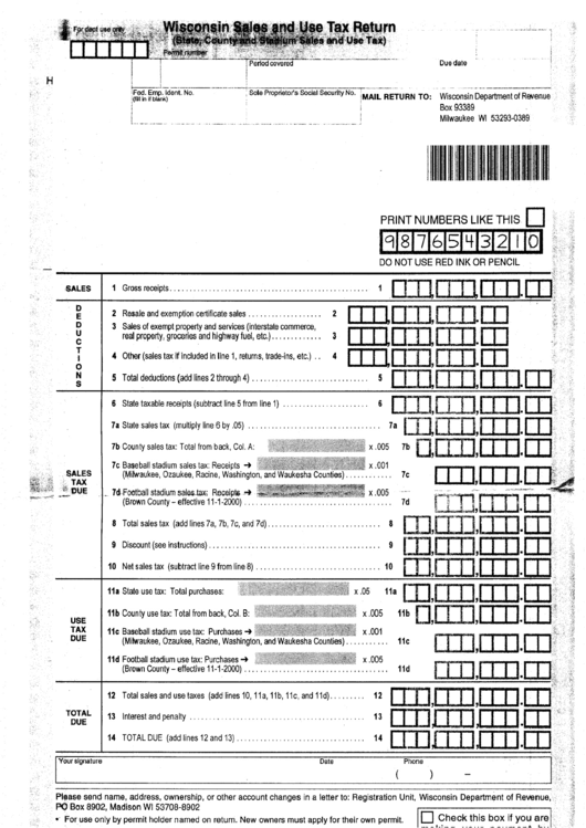 Wisconsin Sales And Use Tax Return Form