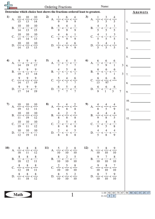 Ordering Fractions Worksheet With Answer Key printable pdf ...