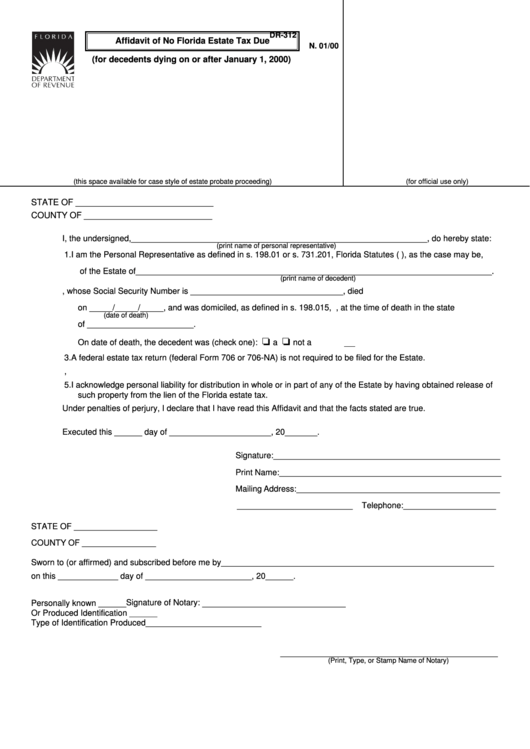 Form Dr-312 - Affidavit Of No Florida Estate Tax Due With