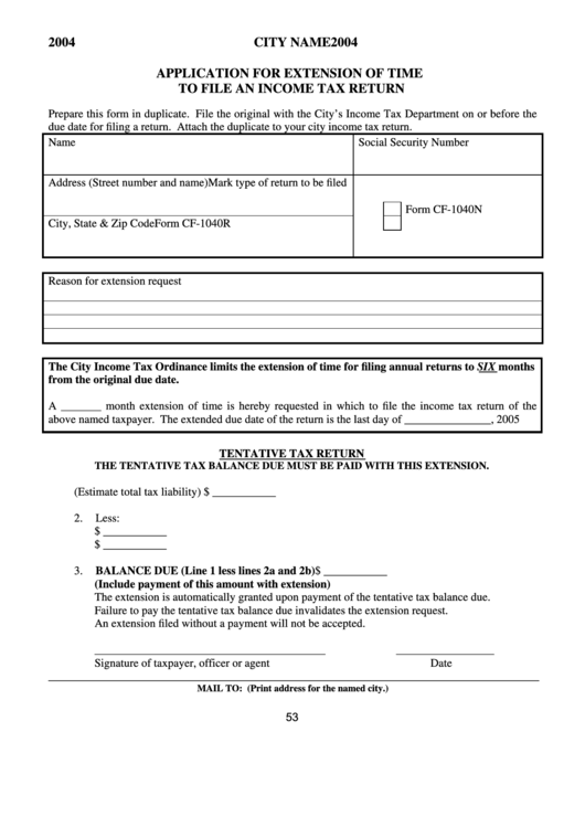 Application For Extension Of Time To File An Income Tax Return Form - 2004