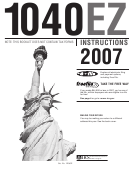 Instructions For Form 1040ez - Income Tax Return For Single And Joint Filers With No Dependents - Internal Revenue Service - 2007