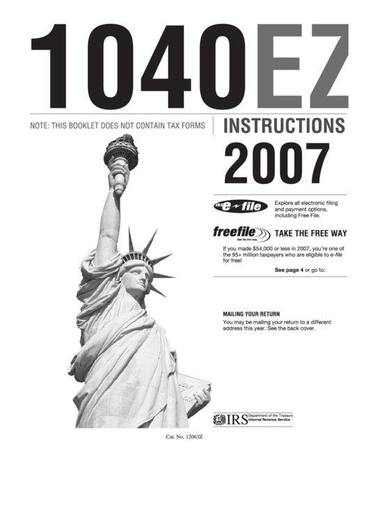 irs tax form 1040ez instructions