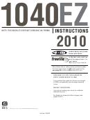 Instructions For Form 1040ez - Income Tax Return - Internal Revenue Service - 2010