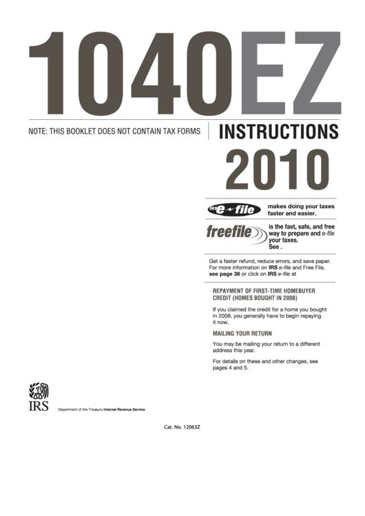 Instructions For Form 1040ez Income Tax Return Internal Revenue