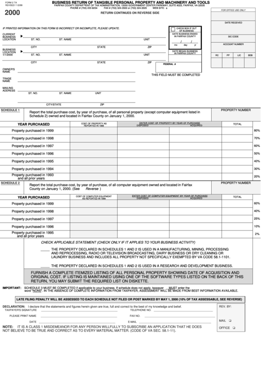 Fairfax County Personal Property Tax >> Form 2 Ta - Business Return Of Tangible Personal Property And Machinery And Tools - State Of ...
