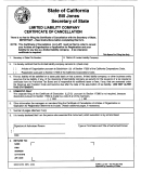 Form Llc-4/7 - Certificate Of Cancellation For A Limited Liability Company - California Secretary Of State