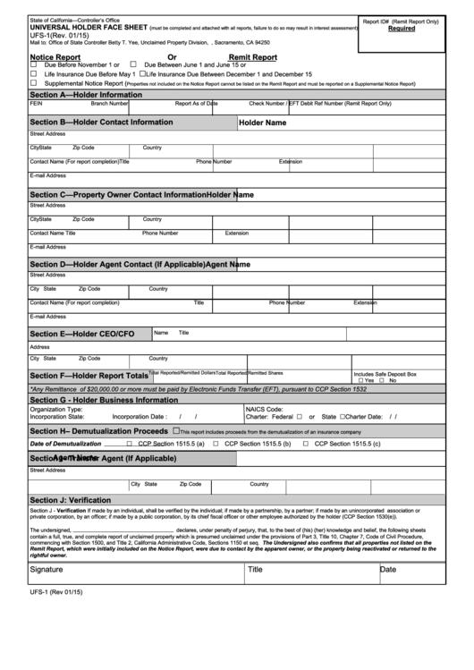 Fillable Form Ufs-1 - Universal Holder Face Sheet Printable pdf