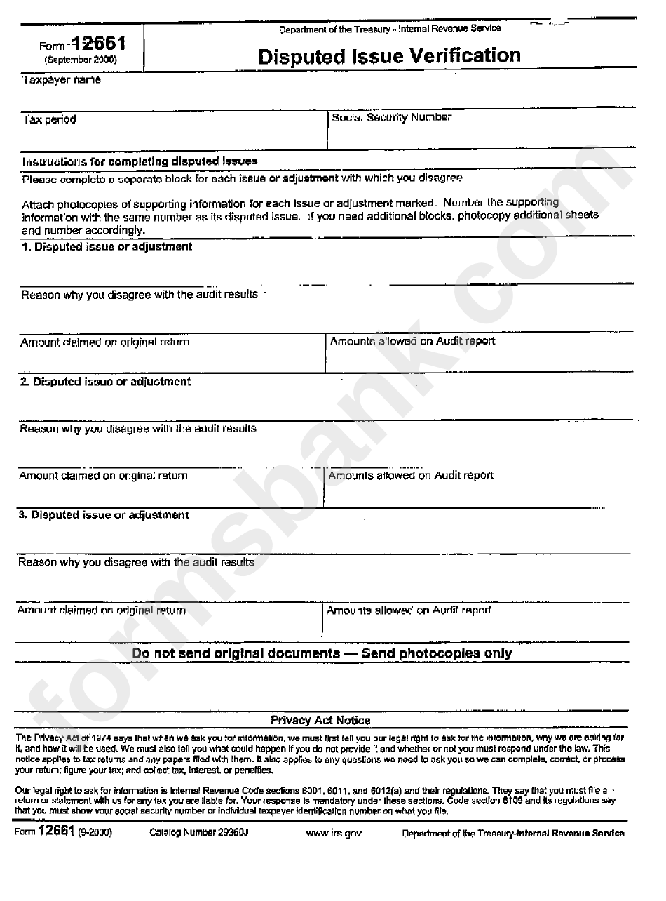 form 12661 Form 12661 - Disputed Issue Verification - 2000 printable pdf download