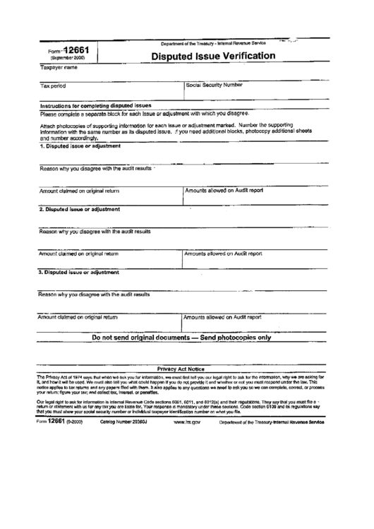 form 12661 - disputed issue verification