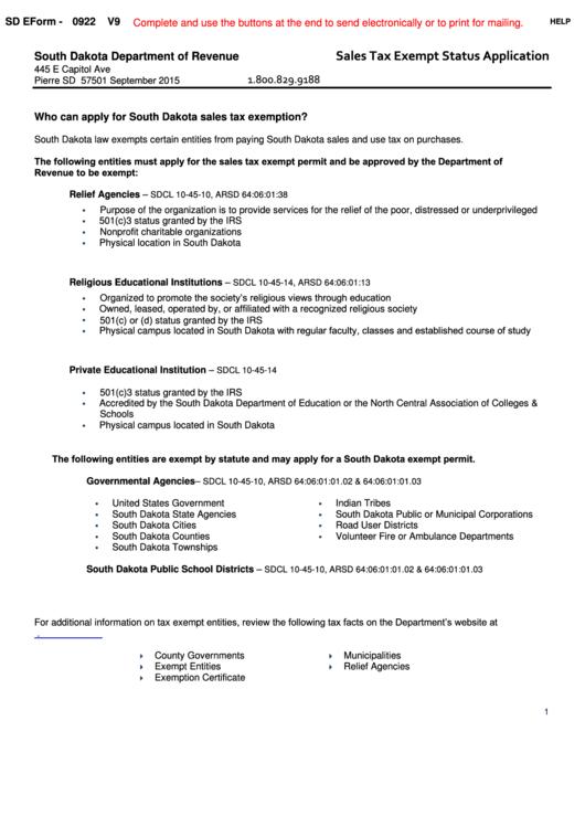 Fillable Form 0922 - Sales Tax Exempt Status Application Printable pdf