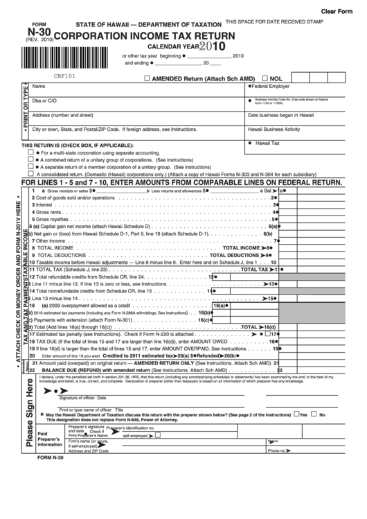 fillable form n-30 - corporation income tax return