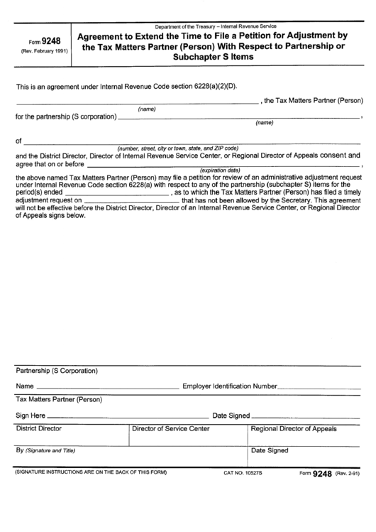 Form 9248 - Agreement To Extend The Time To File A Petition For Adjustment By The Tax Matters Partner (Person) With Respect To Partnership Or Subchapter S Items - 1991 Printable pdf