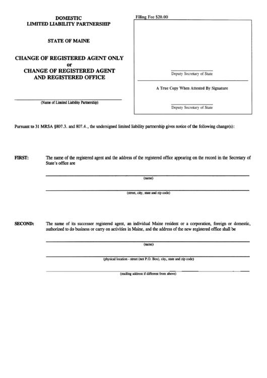 Form Mllp-3 - Change Of Registered Agent Onl Y Or Change Of Registered Agent And Registered Office Printable pdf