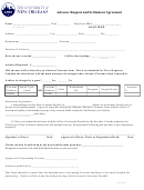 Advance Request And Settlement Agreement Form - The University Of New Orleans