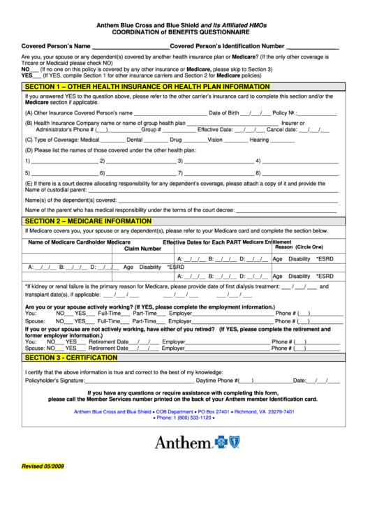 Coordination Of Benefits Questionnaire - Anthem Blue Cross ...