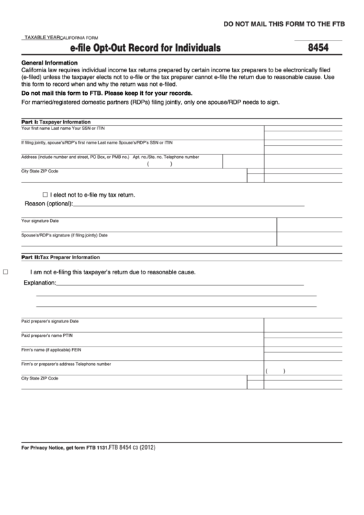 Form 8454 - E-File Opt-Out Record For Individuals - 2012 Printable pdf