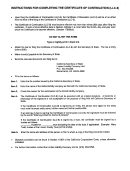 Instructions For Completing The Certificate Of Continuation (llc-8) - California Secretary Of State