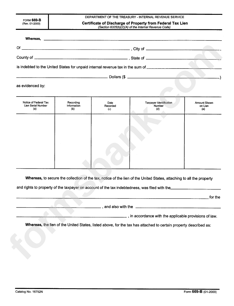 Form 669-B - Certificate Of Discharge Of Property From Federal Tax ...