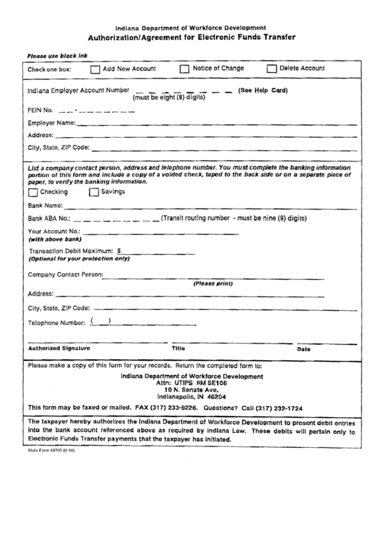 State Form 4970g - Authorization/agreement For Electronic Funds Transfer Printable pdf