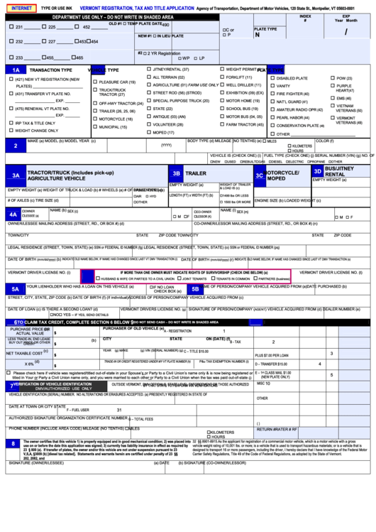 Vermont Registration Tax And Title Application