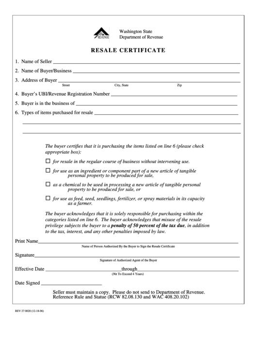 resale certificate form rev pdf printable fillable template