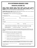 Extension Request Form Municipal Income Tax - 2012