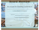 Board Member Certificate Template