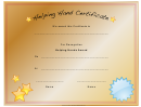 Helping Hand Certificate Template