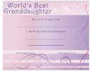 Best Granddaughter Certificate Template