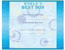 Best Son Certificate Template