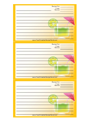 Umbrella Drink Orange Recipe Card Template