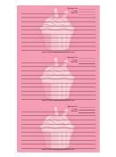 Pink Cupcake Pink Recipe Card Template