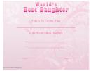 Best Daughter Certificate Template