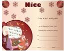 Santa's Nice List Christmas Certificate Template