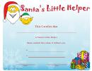 Santa's Little Helper Christmas Certificate Template