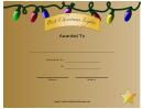 Best Christmas Lights Certificate Template