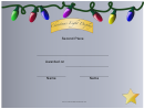 Christmas Lights Display 2nd Place Certificate Template