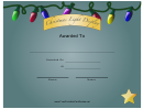 Christmas Lights 3rd Place Certificate Template