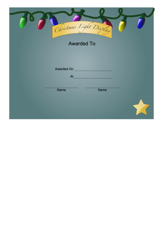 Christmas Lights 3rd Place Certificate Template Printable pdf